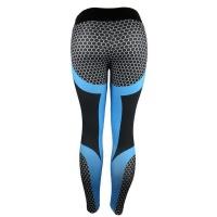 High Waist Elastic Women's Yoga Fitness Workout Pants – Blue Photo