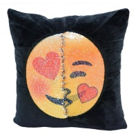 Emoji Changing Emoticon Mermaid Sequin Cushion Pillow - Heart Eyes & Kiss Photo
