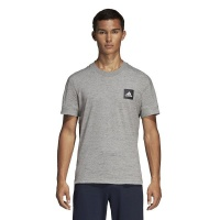 adidas Men's ID 3 Stripes Short Sleeve T-Shirt - Grey Photo