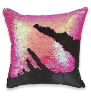 Mermaid Colour Changing Sequin Pillow Cushion - Mermaid Pink & Matte Black Photo