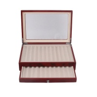 23 Slot Two-Layer Wood Pen Display Case Storage with Glass Lid - Brown Photo