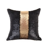 Mermaid Colour Changing Sequin Pillow Cushion - Matte Gold & Black Photo
