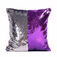 Mermaid Colour Changing Sequin Pillow Cushion - Purple & Silver Photo