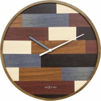 NeXtime 45cm Patch Wood Round Wall Clock - Designed by Jette Scheib Photo