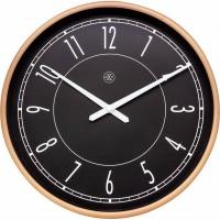 NeXtime 30cm Jason Plastic Round Wall Clock - Black & Matt Rose Photo