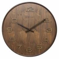 NeXtime 35cm Wood Wood Medium Round Wood Wall Clock - Brown Photo