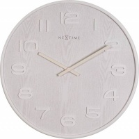 NeXtime 35cm Wood Wood Big Round Wood Wall Clock - White Photo