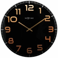 NeXtime 50cm Classy Large Glass Round Wall Clock - Black & Copper Photo