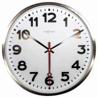 NeXtime 55cm Super Station Stainless Steel Round Wall Clock - White Photo