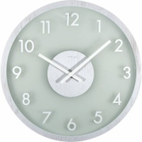 NeXtime 50cm Frosted Wood Glass & Wood Round Wall Clock - Grey Photo