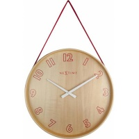 NeXtime 26cm Loop Small Wood & Fabric Round Wall Clock - Red Photo