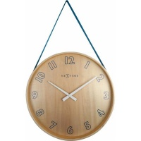 NeXtime 40cm Loop Big Wood & Fabric Round Wall Clock - Blue Photo