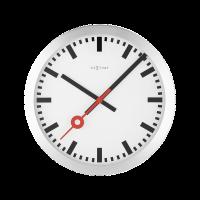 NeXtime 34.8cm Station Aluminium Round Wall Clock - Brushed Photo