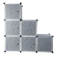 6 Compartment Modular Cubical Home Storage Rack Organizer Holder - Black Photo