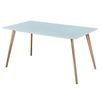 Hanson 120cm Dining Table - White With Oak Leg Photo