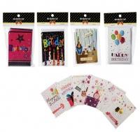 Bulk Pack x 4 Card & Envelope Mini 6 piecess Per Pack Glitter 7x10cm Photo