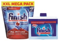 Finish All In One Auto Dishwashing Tablets 100's Machine Cleaner 250ml Photo