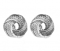 Round Swirl Classical Style Cufflinks For Men - Silver Photo