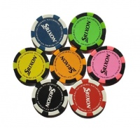 7 x Srixon Poker Chip Ball Markers - Assorted Colours Photo