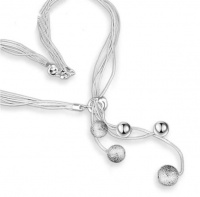 5 Piecs Silver Fashion Charm Chain Necklace With 5 Matte Beads Photo