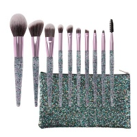 10 Pieces Professional Makeup Brush Set with Shiny Acrylic Glitter Handle Photo
