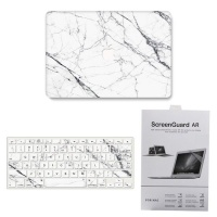"""Protective combo for Macbook 13"""" Air 2018 - White Marble Photo"""