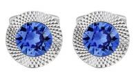Sapphire Civetta Spark Round Cufflinks- With SWAROVSKI Crystal Photo