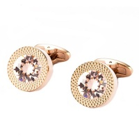 Civetta Spark Round Cufflinks- With Swarovski Vintage Rose Crystal Photo