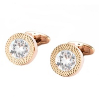 Civetta Spark Round Cufflinks- With Swarovski ClearCrystal Rosegold Photo