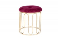 Gold Metal Accent Stool with Burgundy Velvet Photo