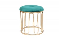 Gold Metal Accent Stool with Emerald Velvet Photo