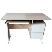 Contemporary Single Office Desk with 2 Side Drawers Photo