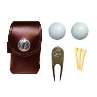 "7"" 1 Leather Golf Ball Pouch Mini Golf Waist Bag Accessories Set-Brown Photo"