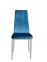 4 x Velvet Dining Chairs - Check Design - Chrome Legs - Turquoise Photo
