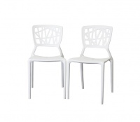 2 x Vento-Inspired Office Dining Multifunctional Chairs- White Photo