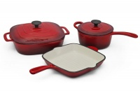 Fine Living - 5 Piece Lux Cast Iron Set - Red Photo