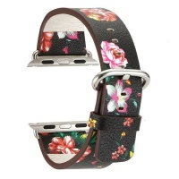 Apple Watch Floral Pattern Printed Leather Wrist Band 42mm 44mm Photo