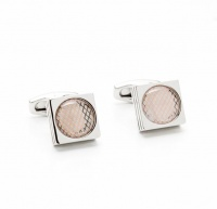Square Silver Tone Meshed Oval Inlay Cufflinks Photo