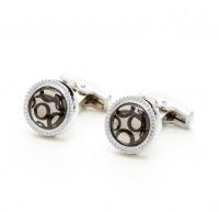 Round Silver Tone Gem & Bubble Cufflinks Photo