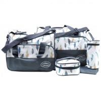 Mothers Choice 5 Piece Microfibre Diaper Bag Set Grey Photo