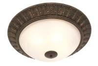 Black Gold Resin Base Ceiling Fitting with Alabaster Glass Photo
