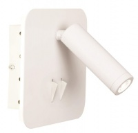 Square Matt White Metal Wall Bracket with Back Light and 2 Switches Photo