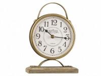 Table Clock Round Wood Base Photo
