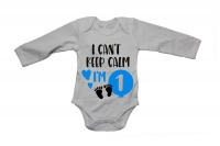 I Can't Keep Calm I'm 1 - Blue - LS - Baby Grow Photo