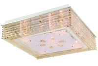 Chrome LED Ceiling Fitting with Frosted Glass and Amber Crystal Rods Photo