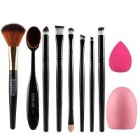 10 Piece Powder Brush Sponge Puff Cleaning Egg Set Beauty Makeup Tool-Pink Photo