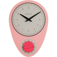 NeXtime 27.5cm Hans Glass Kitchen Wall Clock - Pink Photo