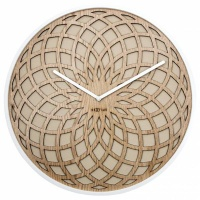 NeXtime 35cm Sun Small Wood and Fabric Round Wall Clock - Beige Photo