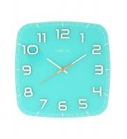NeXtime 30 x 30 x 3.5cm Classy Square Glass Wall Clock - Turquoise Photo