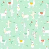 Gift Wrapping Paper 5m Roll - Nile Green Llama Photo